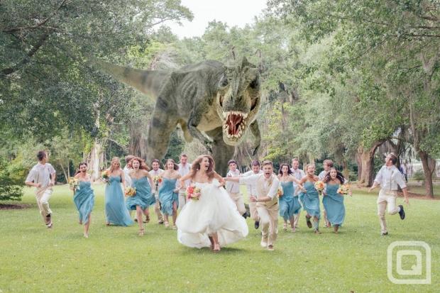 photo de mariage avec T-Rex