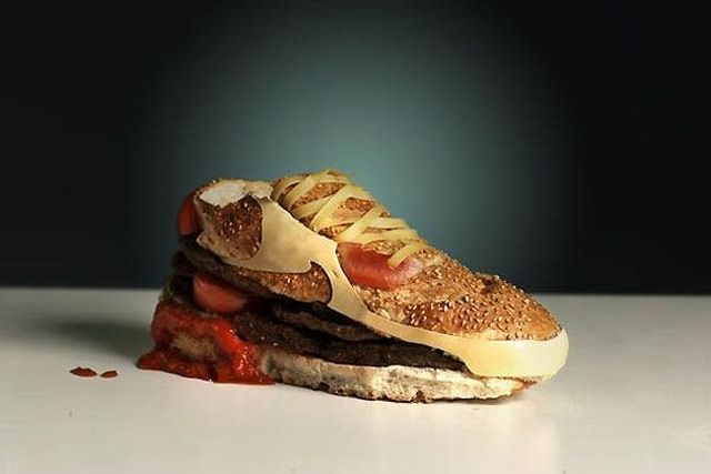 burger shoes food art